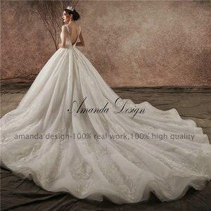 Image 5 - Amanda Design Hohe ende Angepasst Low Cut Tiefen V Sexy Luxus Backless Hochzeit Kleid