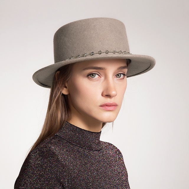Sedancasesa wide brim boater hats for women high quality Australia wool  felt hat Autumn Winter fashion ladies fedora capFW038106 5c00c350ac1