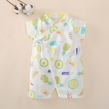 Rompers String Closure O-Neck 100% Cotton Short-Sleeves Cute Kimono Tees Absorbent Breathable Cool 3-18 Months