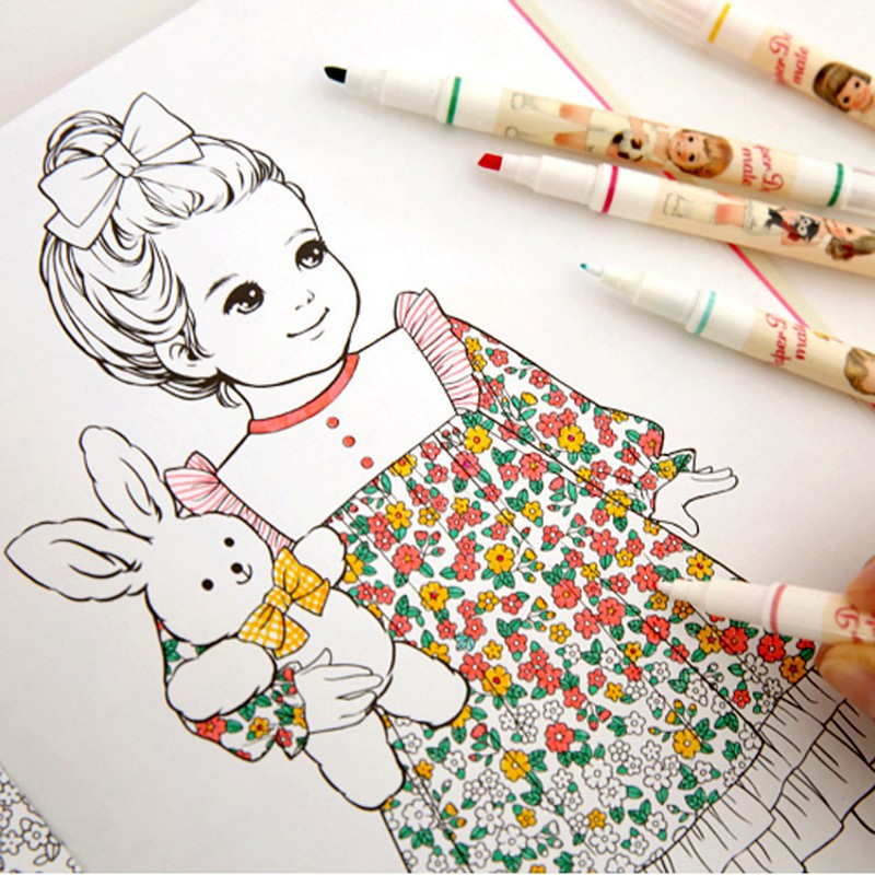 Fashion Korean Paper Doll Cute Girl Coloring Book For Adult Children Antistress Relieve Stress Painting Drawing Graffiti Books In From Office School