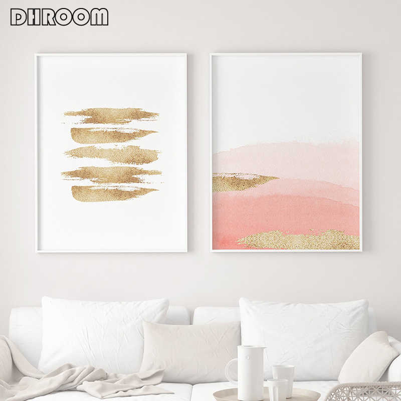 Nordic Watercolor Abstract Wall Art Poster Print Gold Strokes Canvas Painting Nordic Decoration Picture Modern Living Room Decor