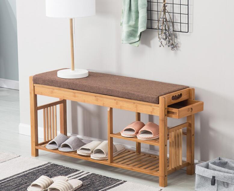 US $141.55 5% OFF|Bamboo Shoe Bench Rack with Cushion Upholstered Padded  Seat Storage Shelf Organizer Bench for Bedroom Living Room Hallway Foyer-in  ...
