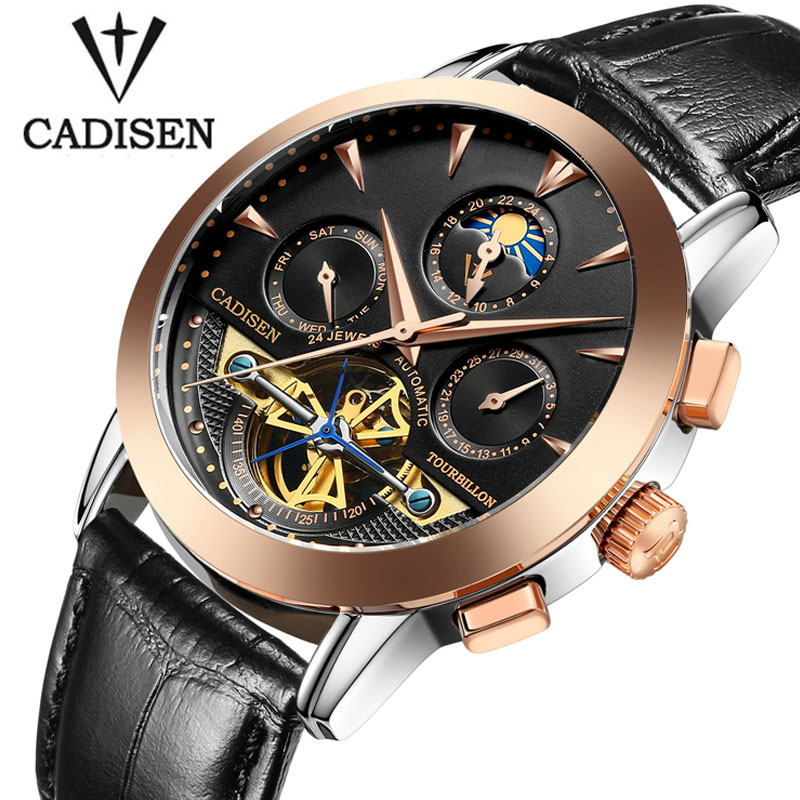ФОТО Luxury Brand CADISEN Mechanicl Watches Men Waterproof Skeleton 8 Stylish Fashion Automatic Self-Wind Watches Gold Clock reloj