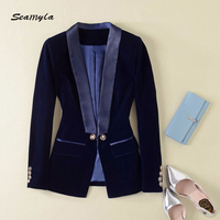 Seamyla 2018 High Quality Velvet Jackets Women New Fashion Designer Runway Jackets Celebrity Party Slim Outerwear Casual Coats