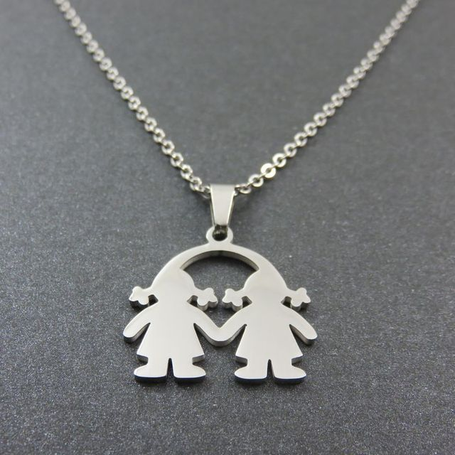 Baby girl twins pendant necklace happy sisters pendant fashoin baby girl twins pendant necklace happy sisters pendant fashoin stainless steel jewelry for girl aloadofball Choice Image