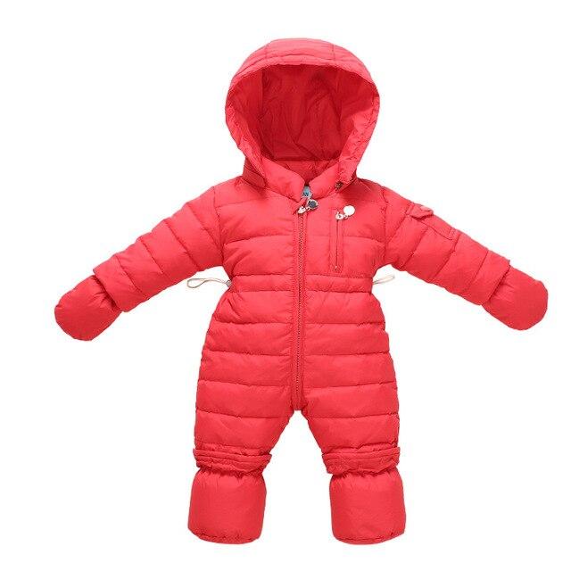 2017 зимние комбинезоны Сиамские пуховик сплошной цвет с капюшоном новорожденных куртка ребенка ползать восхождение одежды Sonw Носить 0-12 м