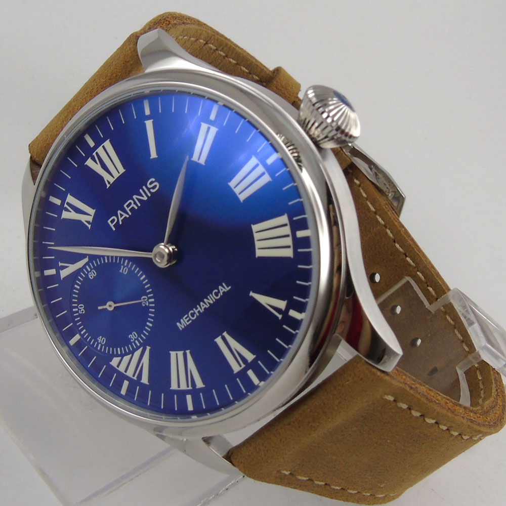 44mm Parnis Blue Dial Silver Hands SS Case 17 Jewels 6497 Hands Winding Men's Watch 44mm parnis blue dial luxury brand silver hands rose golden plated case luminous marks leather 6497 hands winding men s watch