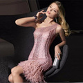 One Shoulder Mermaid Short Cocktail Dresses 2017 Luxury Beaded Ostrich Feathers Sequin robe de cocktail Women Ocassion Dresses