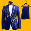 Envío gratis 100% real mens royal azul bordado bordoneado smoking traje/evento/estudio/cantar/bailar/funcionamiento de la etapa/chaqueta con pantalones