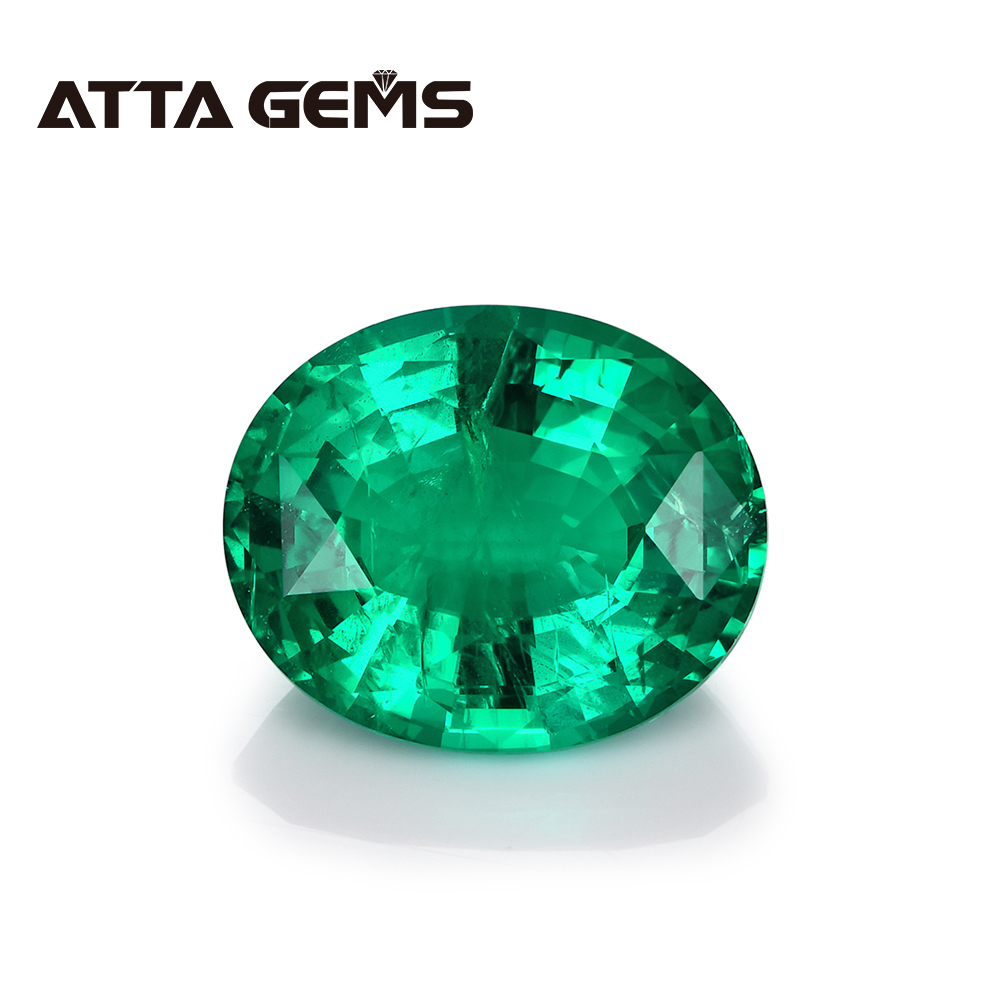 Columbian Emerald Loose Gemstone Oval Faced Cut Jewelry Design Oval 8mm*10mm 2 Carats Hydrothermal Emerald Jewelry Stone