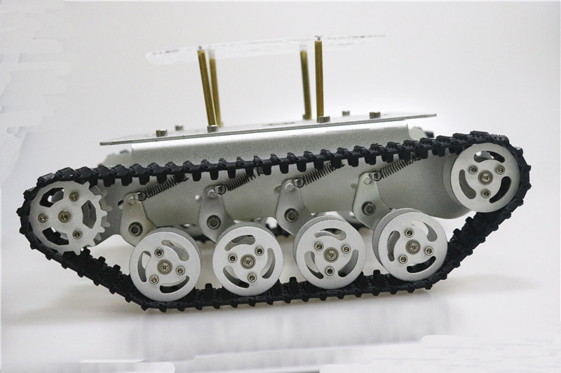 Metal Shock Absorper Smart Robot <font><b>Tank</b></font> Chassis With Dual DC Motor Plastic Tracks Aluminum Alloy Wheels For Arduino Project <font><b>TS100</b></font> image