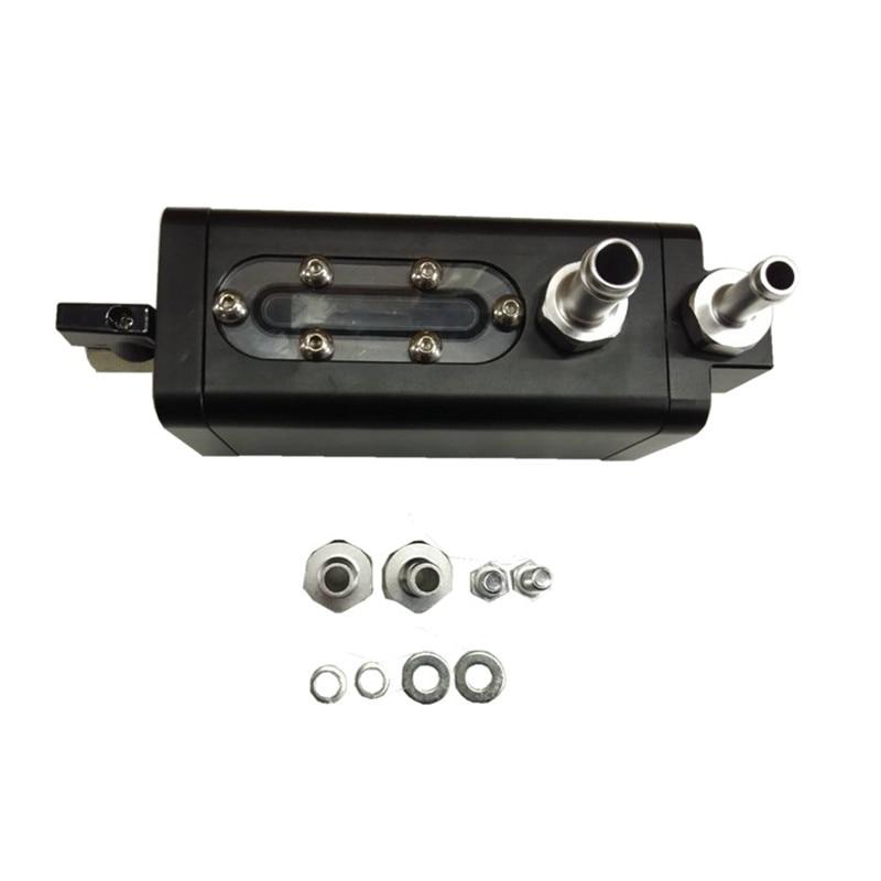 SPSLD Fabrication Baffled Oil Catch Aluminum Can Oil Tank 2 Port Black Universal|Fuel Tanks| |  - title=