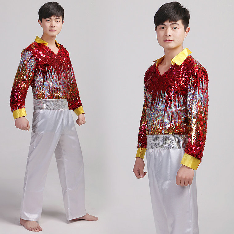 2017 Dance Costumes Hmong Clothes Men Adult Male Modern Dance Clothing Costumes Jazz Latin Rumba Fashion Stage New Special