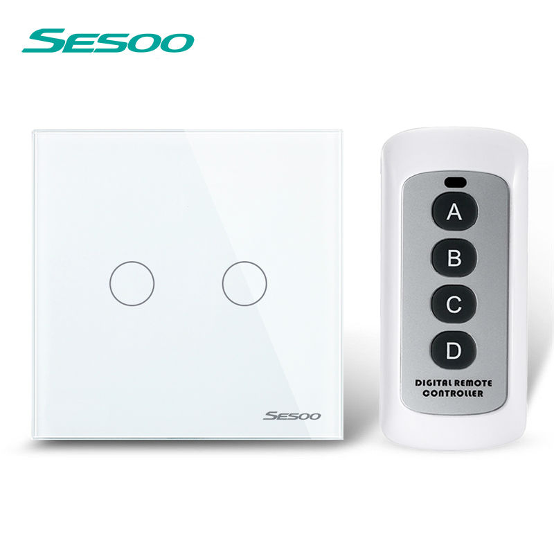 EU/UK Standard SESOO Remote Control Switch 2 Gang 1 Way,Crystal Glass Switch Panel,Remote Wall Touch Switch+LED Indicator remote control wall switch eu standard touch black crystal glass panel 3 gang 1 way with led indicator switches electrical
