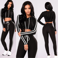 Women Sport Suit Fitness 2PCS Casual Set Long Sleeves Tops Sports Colthing Pants Workout Leggings Sexy High Waist Leggin
