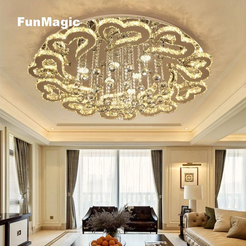 Modern Romantic LED Crystal Ceiling Light Heart-shaped Living Room Lighting Bedroom Fixture Dining Room Hotel Dimming LED Lamp