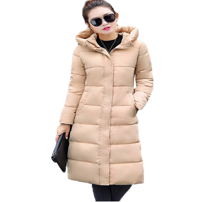 Woman Winter Coats And Jackets 2017 Fashion Medium Long Slim Thick Hooded Long Sleeve Parka Feminino Casual Plus Size Outwear