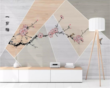 beibehang Customized wallpaper news pen and flower geometric wood grain stitching new Chinese material background wall
