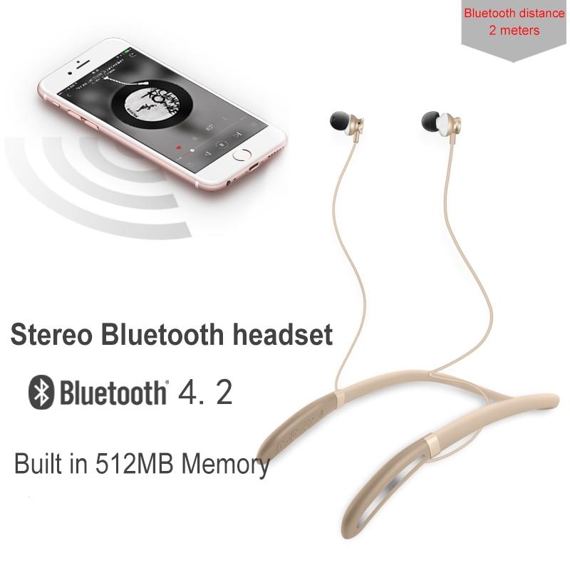 Jumelles double bluebooth 4.2 + 2.1 Sport écouteurs construit en 512M podomètre étanche tour de cou casque MP3 casques pour iphone
