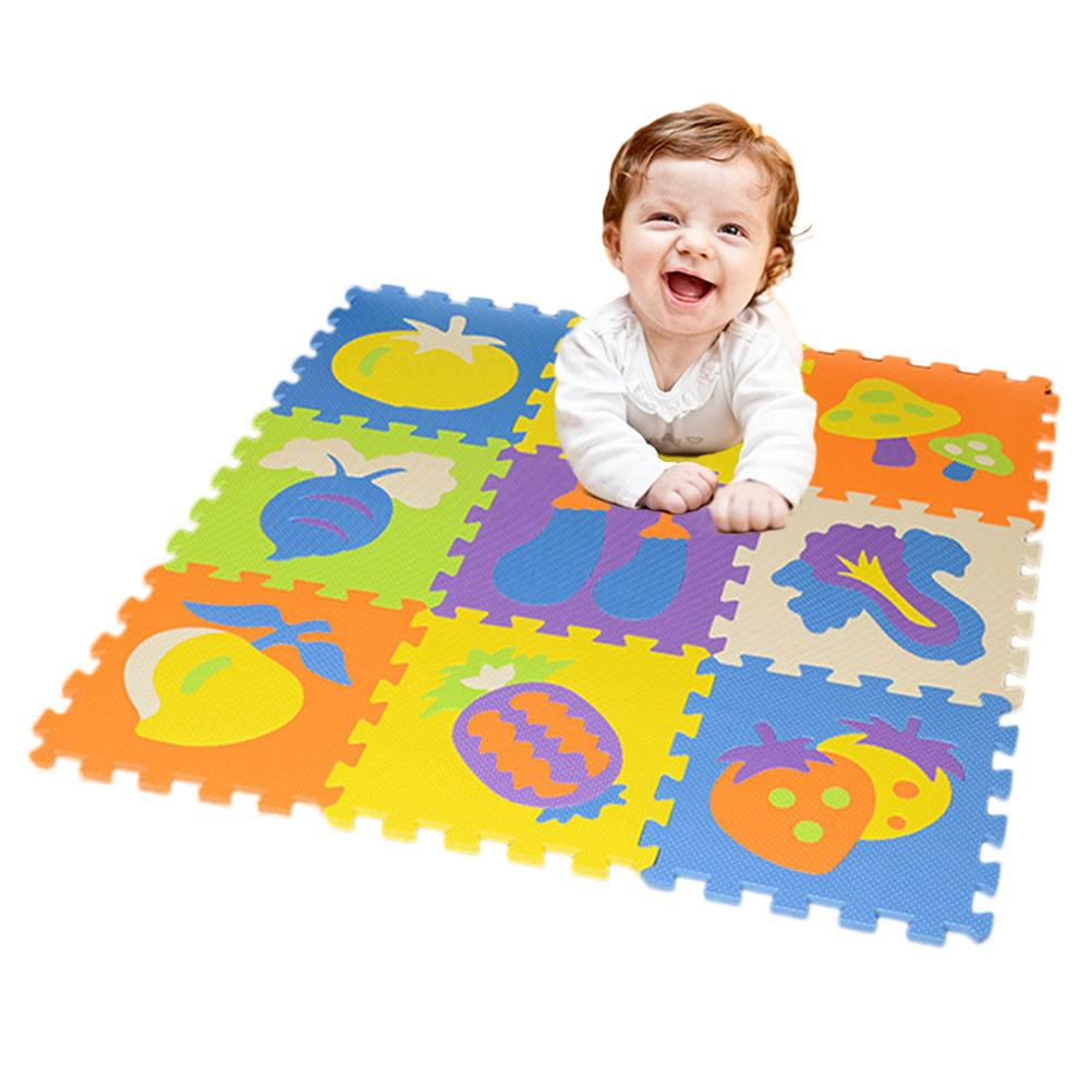 Mother & Kids 9 Pcs Per Set Splicing Mobilization Eva Fruits Vegetables Mats Childrens Educational Toys Puzzle Crawling Mat Agreeable To Taste