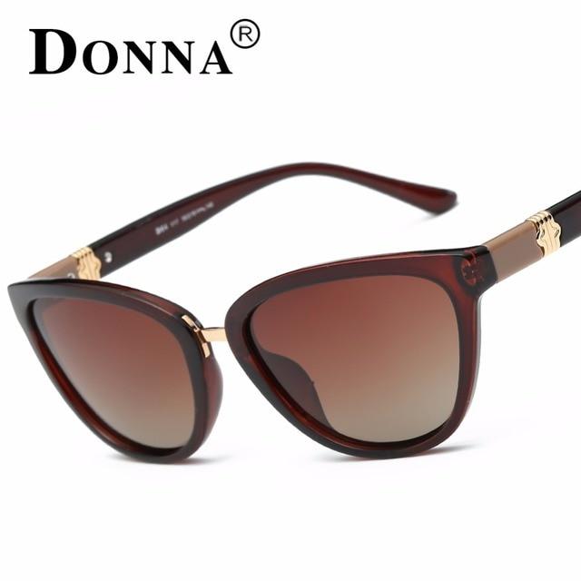 Донна Женщин Модные Солнцезащитные Очки Cat Eye Cateye Поляризованные Негабаритных Марка Дизайнер Солнцезащитные очки Зеркальное Покрытие óculos gafas D64