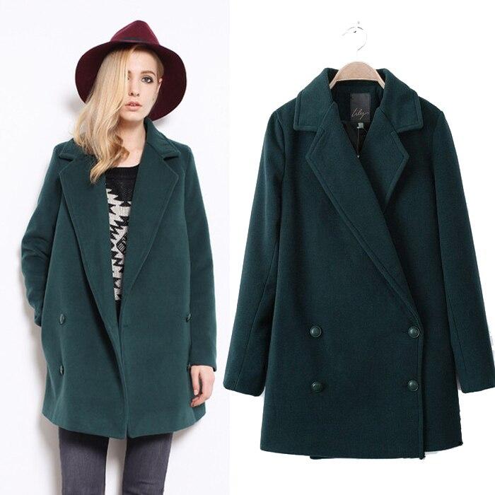 Free Shipping Green Khaki Navy Blue Pea Coats Women Fashion Trench ...