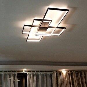 Image 4 - Neo gleam luminária led retangular de alumínio, moderna, para sala de estar, quarto, AC85 265V branco/preto, luminárias para teto