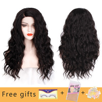 I's a wig Synthetic Lace Front Wig Long Wavy 26'' Black Front Lace Hair Natural L Shape Side Part Wig For Black/White Women