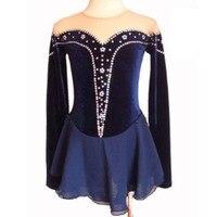 Индивидуальные фигурное катание платье костюм синий Катание на коньках юбка Гимнастика для взрослых девочек показать горный хрусталь Стил