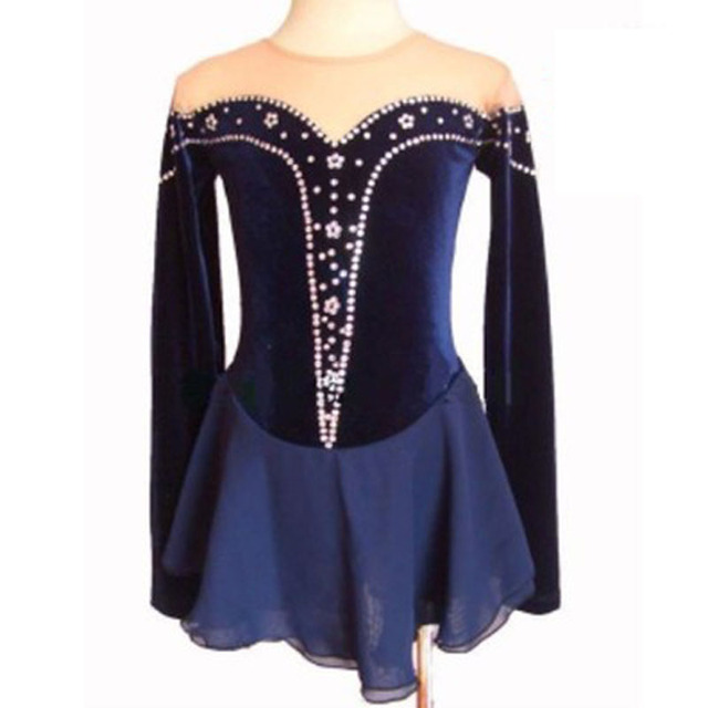 Customized Figure Skating Dress Costume Blue Ice Skating skirt Gymnastics Adult Girl Show Rhinestone Style