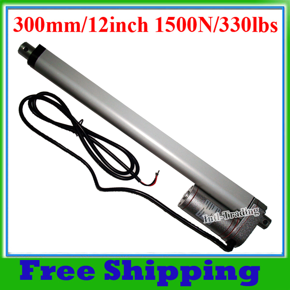DC 12V Heavy Duty 300mm 12inch Stroke 1500N 330lbs 150KG Load Electric 12 Linear Actuator 12Volt