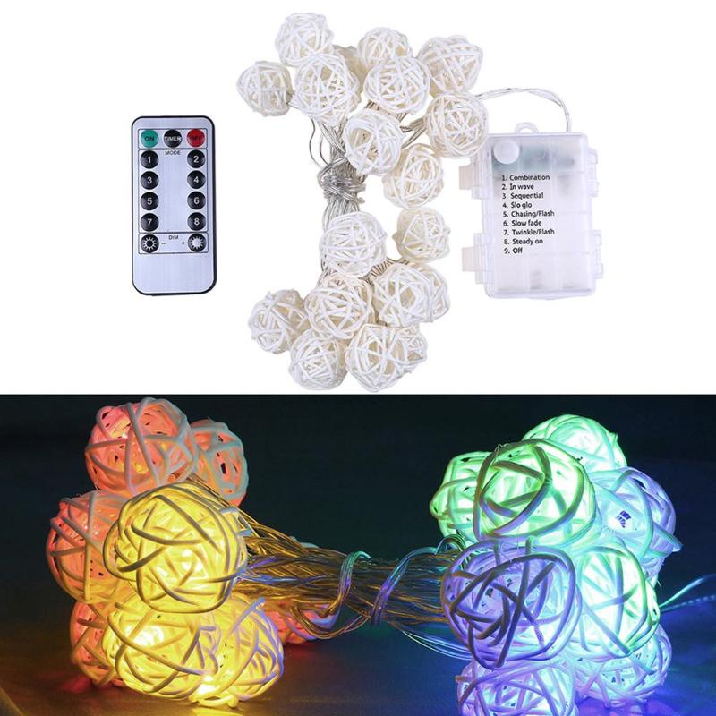 20LED Rattan Ball String Lights Fairy String Lights Wedding Party Decor w Remote Control Christmas Lamps Warm White Lighting DIY in Lighting Strings from Lights Lighting