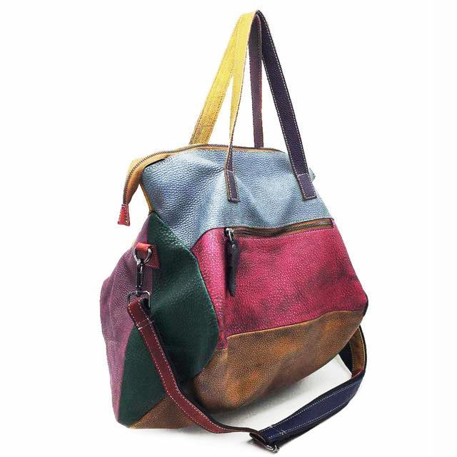 Patchwork Genuine Leather Bag Lady Vintage Retro Chic Big Capacity Handbag 2019 Fashion Designer Luxury Crossbody Bag for Women 3
