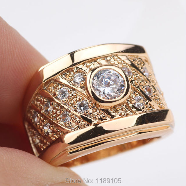 Wedding ring 24k 24ct yellow gold filled Mens ring inlaid cystal GF