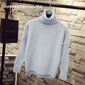 Solid color placketing loose low-high short design thickening turtleneck sweater basic female pullover autumn and winter