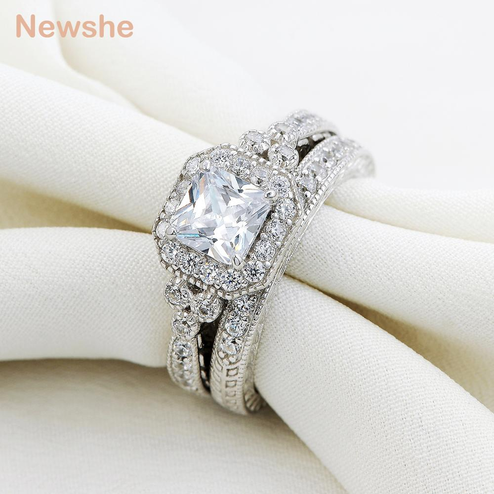 Image 3 - Newshe Genuine 925 Sterling Silver Halo Wedding Engagement Ring Set 1.2 Ct AAA Princess CZ Fashion Jewelry For Women JR4970fashion ring setring setwedding ring set -