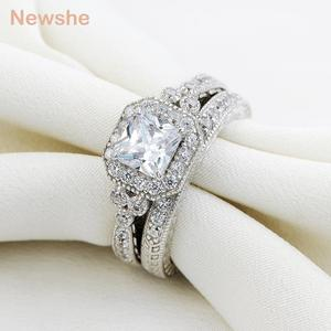 Image 4 - Newshe Genuine 925 Sterling Silver Halo Wedding Engagement Ring Set 1.2 Ct AAA Princess CZ Classic Jewelry For Women JR4970