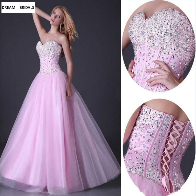 Pink Sweetheart Quinceanera Dresses 2019 Couture Lace Up Back Vestidos De 15 Anos Beading Sequined Sweet 16 Dresses in Quinceanera Dresses from Weddings Events