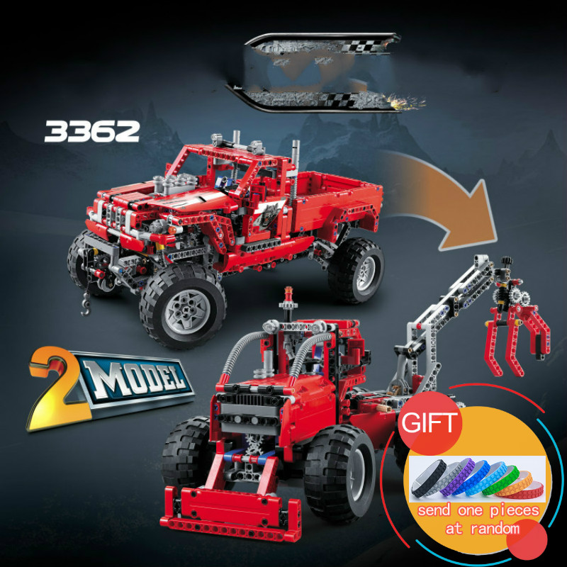 3362 1053pcs Technical 2 in 1 Pickup Truck Toy Building Block Car Model SUV Off-road Compatible with 42029 Kid Gifts Toys lepin 608pcs race truck car 2 in 1 transformable model building block sets decool 3360 diy toys compatible with 42041