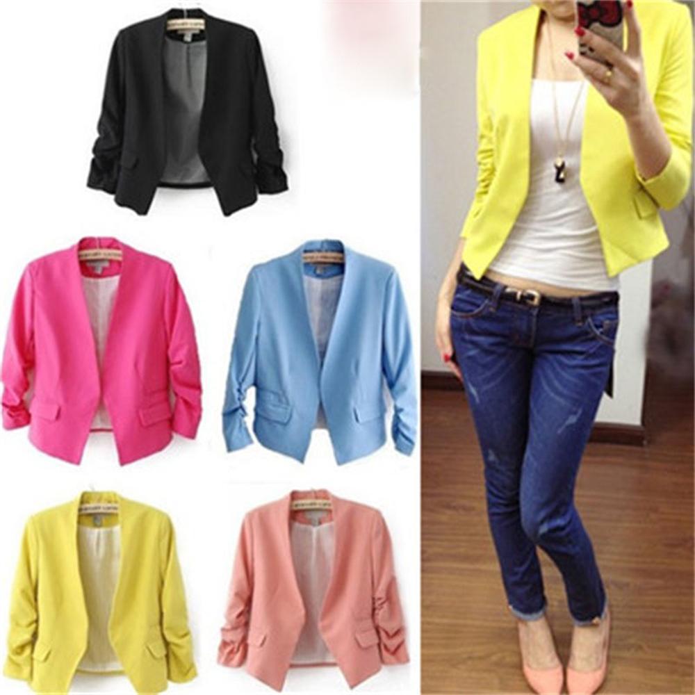 2018 Spring Thin Female blazer Casual Slim Women Blazer and Jackets Plus Size European Style Short Office Lady Work blazer Coat