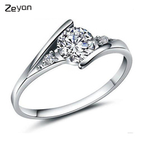 Zeyan 925 Sterling Silver Luxury Zircon Ring Wedding Jewelry Clear Crystal Promise Ring For Women Free