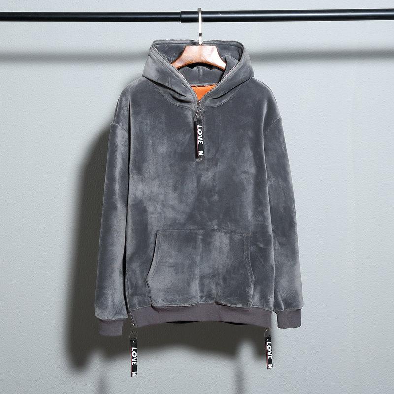 Winter Gold Velvet plus thicken pullover high quality hip hop hoodies with fleece Warm mens hoodie sweatshirt solid slim coat