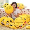 2016 Hot venta 24 estilos Emoji Smiley Emoticon redondo amarillo sofá cojín almohada de peluche de felpa muñeca de juguete envío gratis