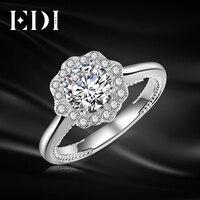 EDI Подлинная 14 К 585 Белое золото Кольца для Для женщин moissanites Diamond Flower свадебное Обручение Ювелирные украшения