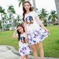 new 2016 summer parent-child outfit suits divided skirts with short sleeves beach group of printed skirt avatars mother daughter