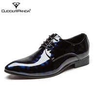 CuddlyIIPanda Luxury Brand Men Fashion Patent Leather Oxfords Shoes Pointed Toe Male Wedding Formal Dress Shoes Men Sneakers