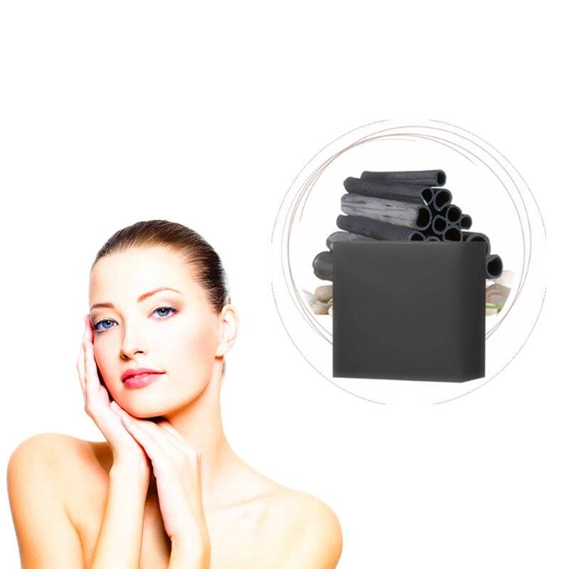 100% HandMade Bamboo Charcoal Whitening Soap Rough Dark Skin Brighten Lasting Moisturizing Oil Control Blackhead Facial Soaps