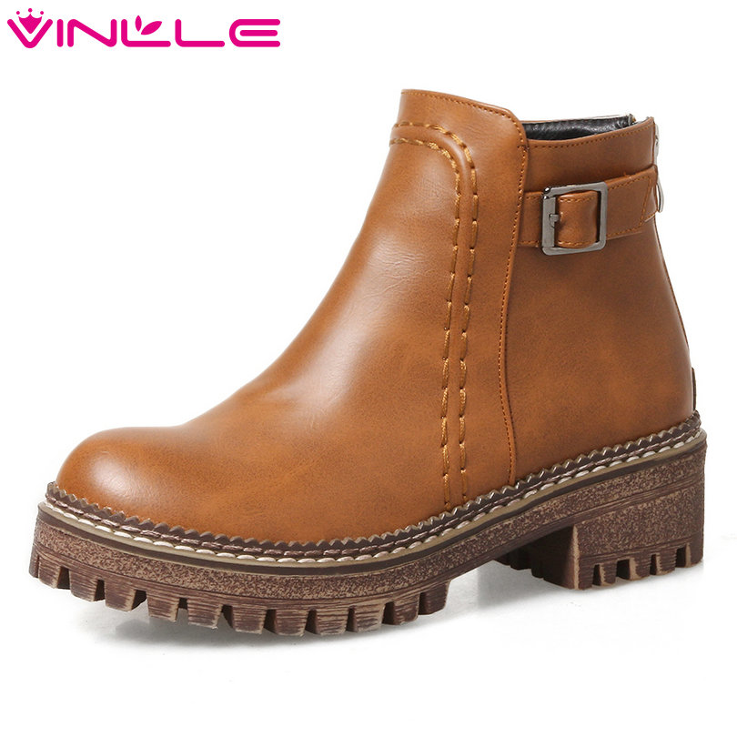VINLLE 2018 Women Shoes Ankle Boots Square Low Heel Round Toe Elegant Black Zipper Ladies Motorcycle Shoes Size 34-43 vinlle 2018 women boots shoes ankle boots square high heel round toe slip on beige ladies motorcycle shoes size 34 43