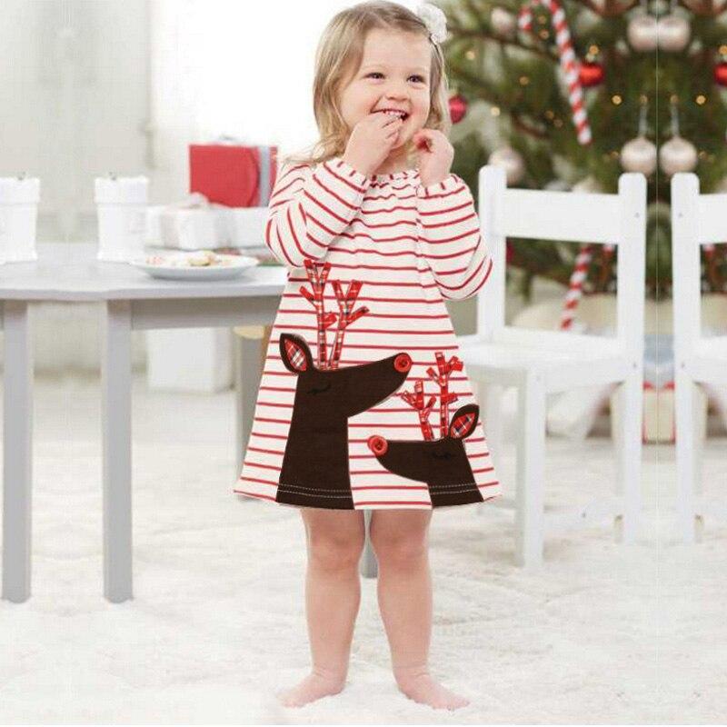 Buon Natale Neonate Infantile Ruffles Ginocchio-Dress Clothes Natale Babbo Natale Babbo natale A Strisce Abiti Tutu
