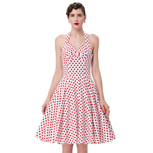 Summer Women Dress 2016 Polka Dots Print Casual Vstidos Sleeveless Vintage 50s 60s Dresses Swing Pinup Rockabilly Dress Cheap